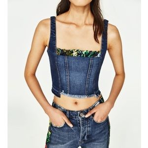 [Zara] Denim Crop Top